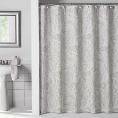 buy juliet bow 54 inch x 78 inch shower curtain in grey from bed bath beyond. Black Bedroom Furniture Sets. Home Design Ideas