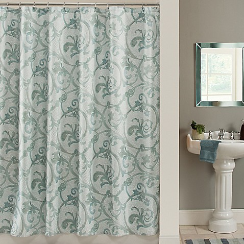 savona shower curtain in blue bed bath amp beyond shower curtains bed bath beyond