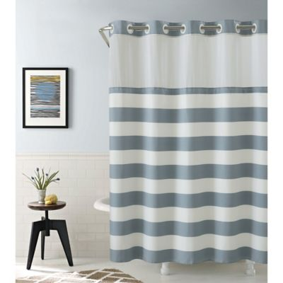blue and gray shower curtain. Hookless Cabana Stripe 74 Inch x 71 Shower Curtain in Blue Buy Curtains from Bed Bath  Beyond