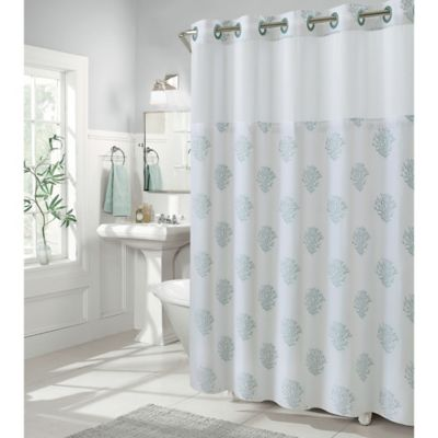 Hookless Coral Reef 80 Inch X 54 Inch Shower Curtain In Grey Mist
