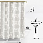 kate spade new york Bow Tile Shower Curtain in Platinum