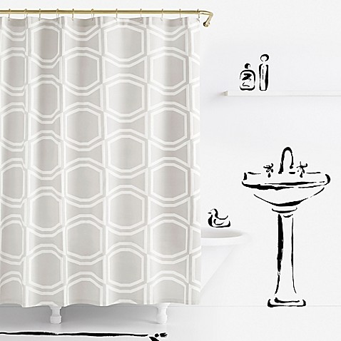 Kate spade new york bow tile shower curtain in platinum for Bed bath and beyond kate spade