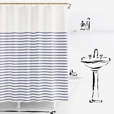 Grey White Striped Shower Curtain. kate spade new york Harbour Stripe Shower Curtain Buy Striped Bath Curtains from Bed  Beyond