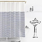 kate spade new york Harbour Stripe Shower Curtain in Navy