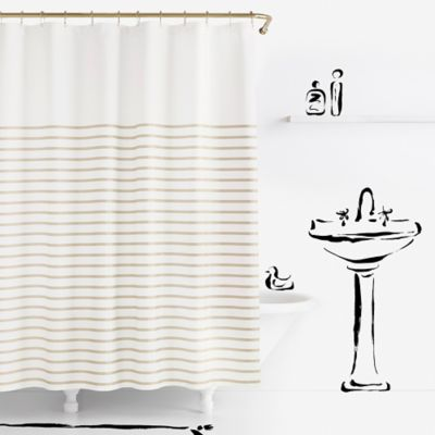 beige striped shower curtain. kate spade new york Harbour Stripe Shower Curtain in Black Buy from Bed Bath  Beyond