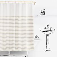 kate spade new york Harbour Stripe Shower Curtain in Black