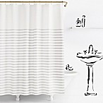 kate spade new york Harbour Stripe Shower Curtain in Platinum
