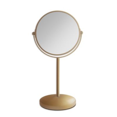 Dual Sided Vanity Mirror In Gold
