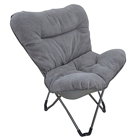 Folding Plush Butterfly Chair In Grey Bed Bath Amp Beyond