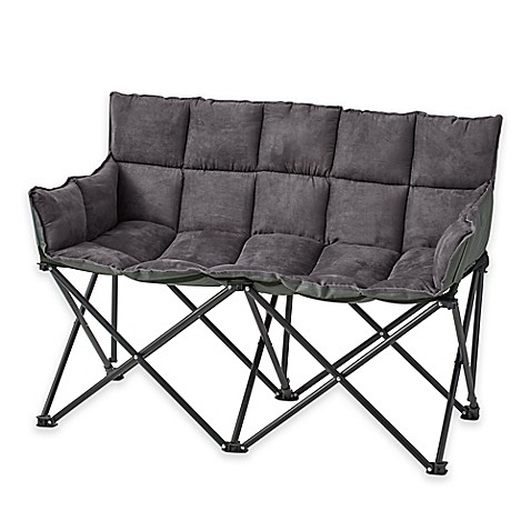 Double Seater Folding Chair In Graphite Grey Bed Bath
