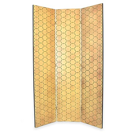Wayborn Honeycomb Room Divider Screen In Ivory Gold Bed