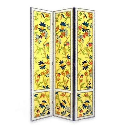 wayborn yanlan floral room divider screen in yellowmulti