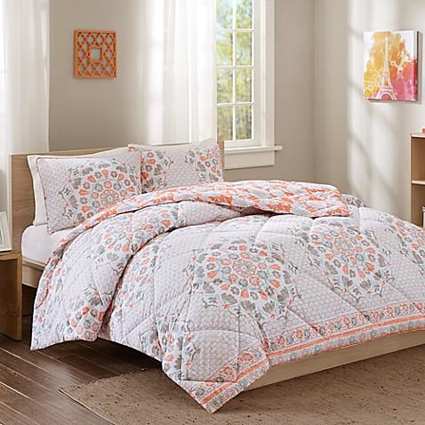 Intelligent Design Pepin Reversible Comforter Set In Coral