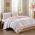 Intelligent Design Pepin Reversible Full/Queen Quilt Set in Coral