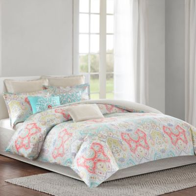 echo design cyprus reversible twin comforter set in aquacoral