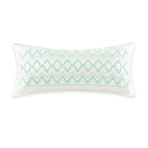 Echo Design Kalea Embroidered Oblong Throw Pillow in White - Bed Bath & Beyond