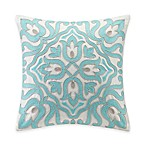 Echo™ Cyprus Abstract Floral Beaded Square Throw Pillow in White/Aqua