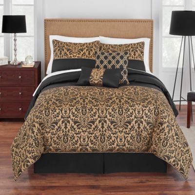 Grand Patrician King Genevieve Comforter Set In Gold Black
