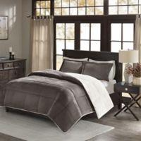 Premier Comfort Jackson Full/Queen Corduroy Reversible Comforter Mini Set in Grey