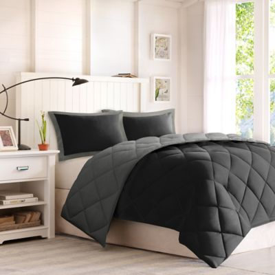 comforter classics larkspur twintwin xl down alternative comforter mini set in blackgrey
