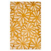 Safavieh Dip Dye Floral Burst 4-Foot x 6-Foot Area Rug in Beige/Gold