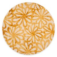 Safavieh Dip Dye Floral Burst 7-Foot Round Area Rug in Beige/Gold