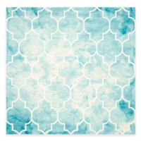 Safavieh Dip Dye Trellis Point 7-Foot Square Area Rug in Turquoise/Ivory