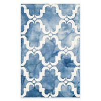 Safavieh Dip Dye Trellis Curve 2-Foot 6-Inch x 4-Foot Accent Rug in Blue/Ivory
