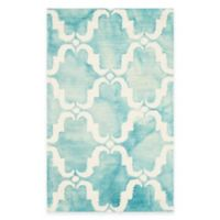 Safavieh Dip Dye Trellis Curve 2-Foot 6-Inch x 4-Foot Accent Rug in Turquoise/Ivory