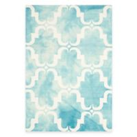 Safavieh Dip Dye Trellis Curve 4-Foot x 6-Foot Area Rug in Turquoise/Ivory