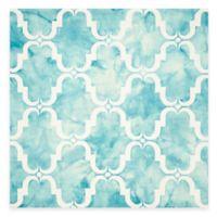 Safavieh Dip Dye Trellis Curve 7-Foot Square Area Rug in Turquoise/Ivory