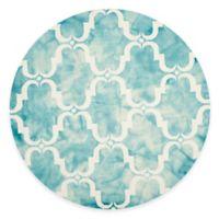 Safavieh Dip Dye Trellis Curve 7-Foot Round Area Rug in Turquoise/Ivory