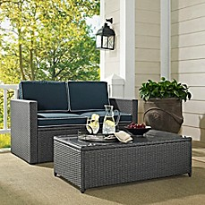Crosley Palm Harbor 2-Piece Outdoor Wicker Loveseat Set