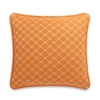 HiEnd Accents Capri Geometric Square Throw Pillow in Orange