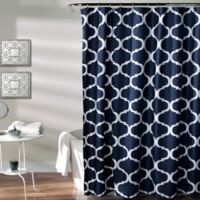 Geo Shower Curtain In Navy