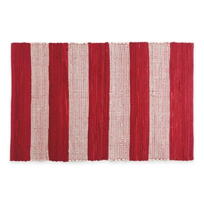 Chindi Hand Woven 31.5 Inch X 20 Inch Kitchen Rug In Red/