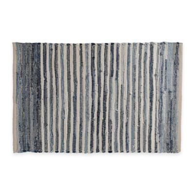 chindi hand woven area rug in denim stripe - Washable Area Rugs