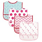 BabyVision® Luvable Friends® 4-Pack PEVA Flamingos Bib Set