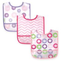 BabyVision® Luvable Friends® 3-Pack Waterproof Bib Set in Pink