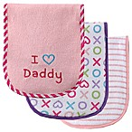 BabyVision® Luvable Friends® 3-Pack  I Love Daddy  Burp Cloth Set in Pink