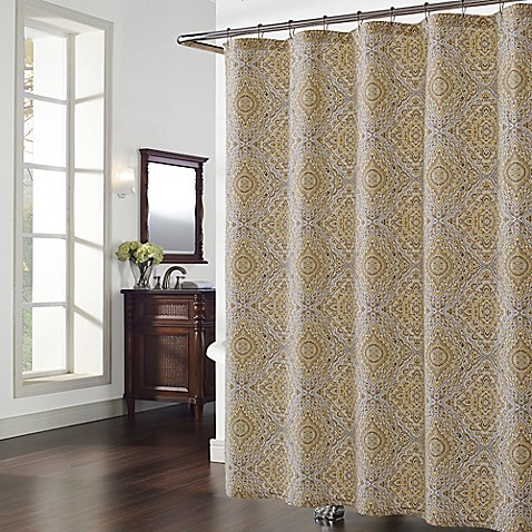 hopewell shower curtain in grey yellow bed bath beyond. Black Bedroom Furniture Sets. Home Design Ideas