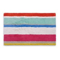 kate spade new york 21-Inch x 34-Inch Paintball Floral Stripe Bath Rug