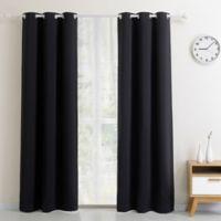 Blackout 63-Inch Grommet Top Window Curtain Panel in Black