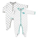 BabyVision® Luvable Friends® Size 6-9M 2-Pack Elephant Snap-Front Footies in Grey/Teal