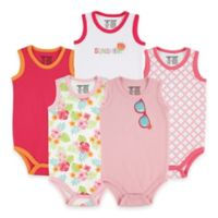 BabyVision® Luvable Friends® Size 9-12M 5-Pack Sunglasses Sleeveless Bodysuits in Pink