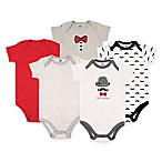 BabyVision® Hudson Baby® Size 0-3M 5-Pack Gentleman Short Sleeve Bodysuits in Grey