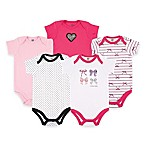 BabyVision® Hudson Baby® Size 3-6M 5-Pack Bows Short Sleeve Bodysuits in Pink