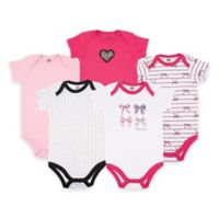 BabyVision® Hudson Baby® Size 6-9M 5-Pack Bows Short Sleeve Bodysuits in Pink