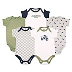 BabyVision® Hudson Baby® Size 6-9M 5-Pack Dirt Bike Short Sleeve Bodysuits in Green/Grey