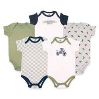 BabyVision® Hudson Baby® Size 0-3M 5-Pack Dirt Bike Short Sleeve Bodysuits in Green/Grey